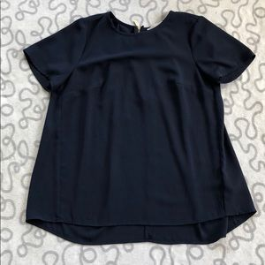 Michael Kors Navy Pleated Back Zipper Blouse